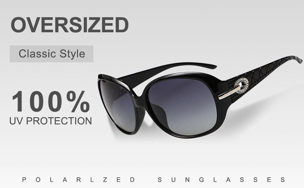 DUCO oversized polarised sunglasses for women ladies sunglasses 100 % UV400  Protection 6214 UK-6214-05 f41bfcf7cf