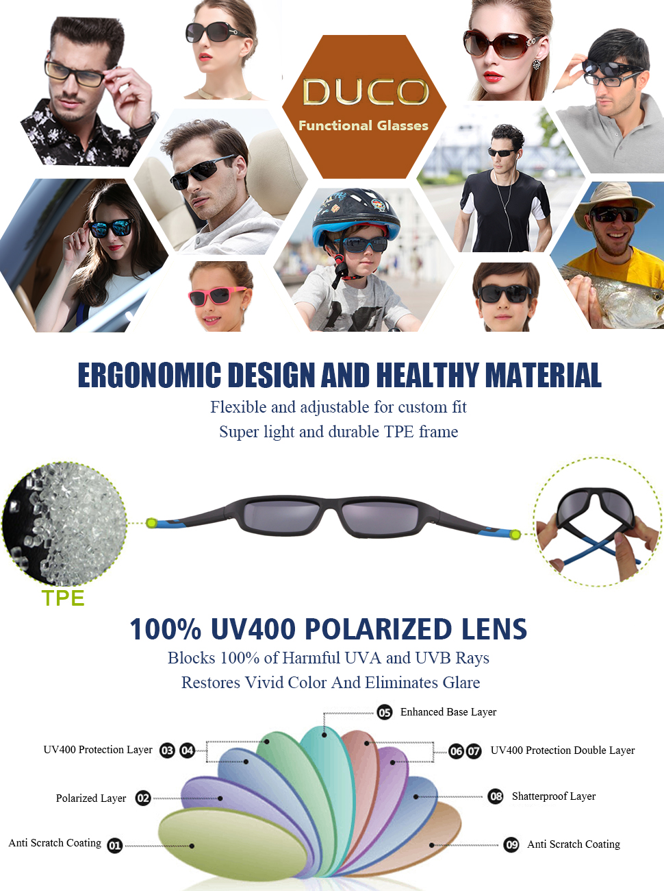 19c873dbbcf Duco Children s Polarized Sunglasses Keep Your Child s Eyes Protected From  The Sunshine And UV Rays.