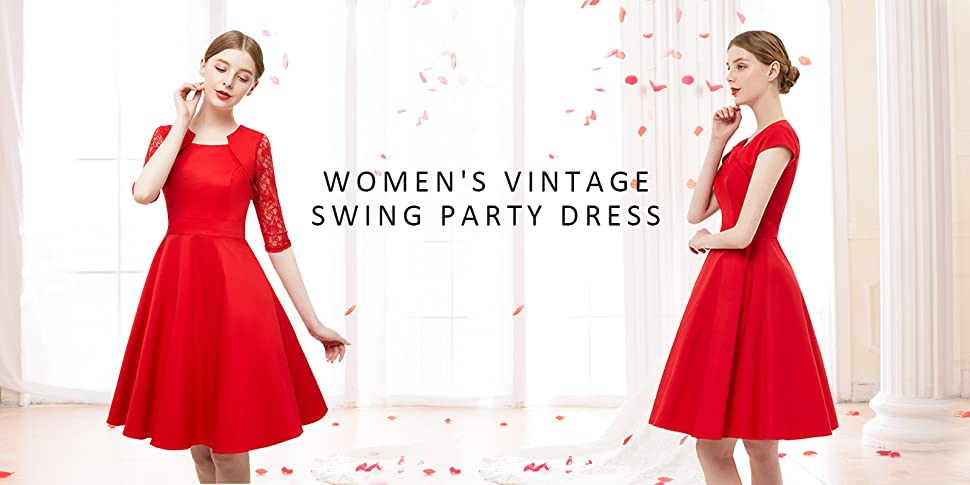 This Classy and Elegant 1950s Retro Vintage Rockabilly Swing Dress is ideal for Wedding, Cocktail, Party, Prom, Banquet, Pageant, Costume, Daily Casual and ...