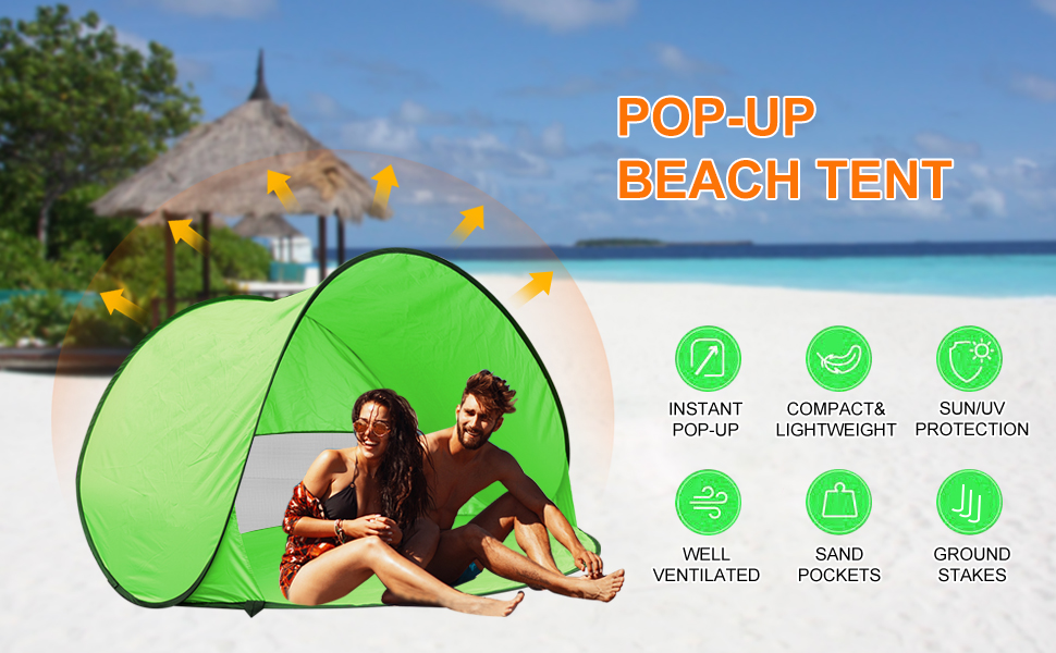 AOGETYO Instant Sun Shade Tent POP UP Family UV Play Beach Tent Cabana Anti UV Portable Automatic Kids Playing Sun Shelter for Camping Fishing Hiking 2-3 person blue