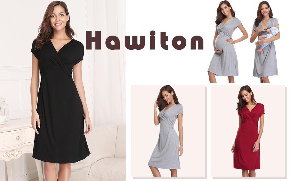 Hawiton Women s Breastfeeding Nightdress Maternity Pyjamas Set ... 9594a4b86