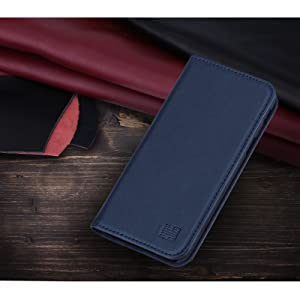 Samsung Galaxy J3 (2017) UK 'Classic Series' real leather wallet case cover available in Navy Blue