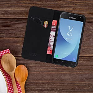 Samsung Galaxy J3 (2017) UK 'Classic Series' real leather wallet case cover open on table