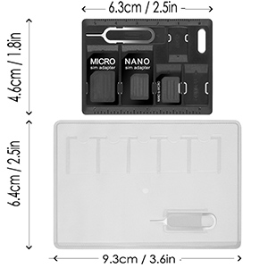 Afunta sim card microsd holders with 2 tray opener amazon plastic pvc card holder it can hold 5 nano size sim cards and 1 credit card business card and also come with 1 tray opener pin reheart Choice Image