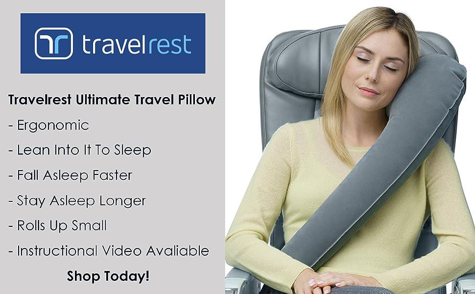 Travelrest ultimate travel pillow ergonomic inflatable grey comfort best travel pillow