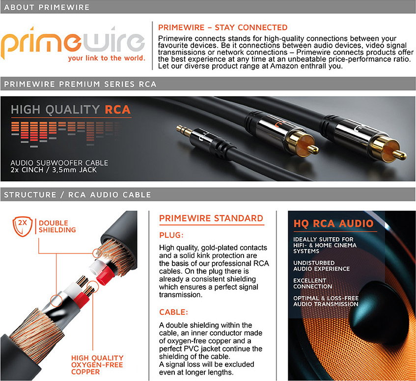 Primewire - 2m HQ 3.5mm Stereo Jack to 2 RCA Phono Y: Amazon.co.uk ...