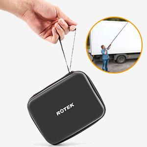 semi-rigid cable, portable case and telescopic rod