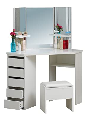 CLIPOP White Corner Dressing Table Mirror Set Makeup