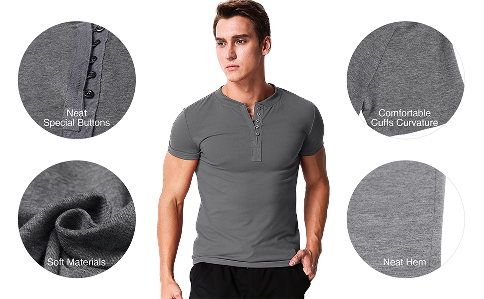 Mens Skinny Button up V-Neck Henley T-Shirt Tee