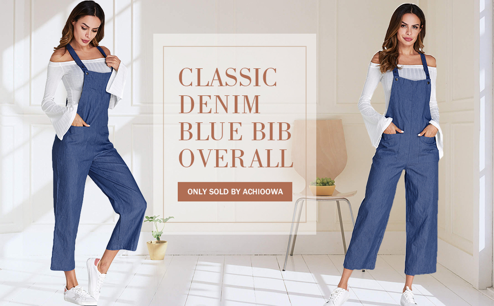 f6c2feec56c s. s. ACHIOOWA Women s Dungarees Romper Jumpsuit Playsuit Sleeveless Baggy  Loose Trousers Pants Overalls