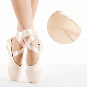 02b28be90 Bezioner Ballet Pointe Shoes Girls Womens Dance Shoes Ribbon Toe ...