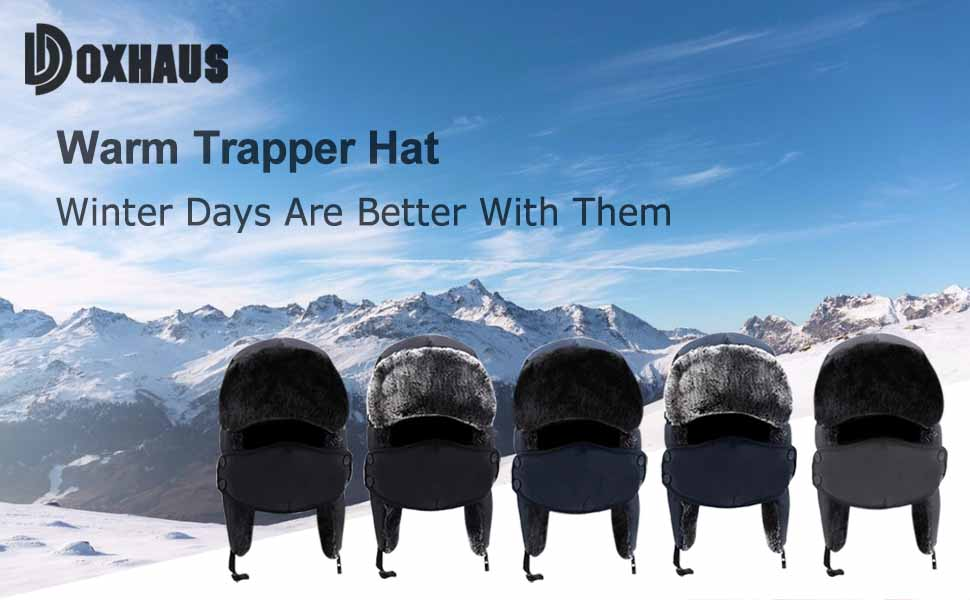 Unisex in pelliccia sintetica Self Check Imbottiti Trapper Hat Cap Caldi Invernali in Nero