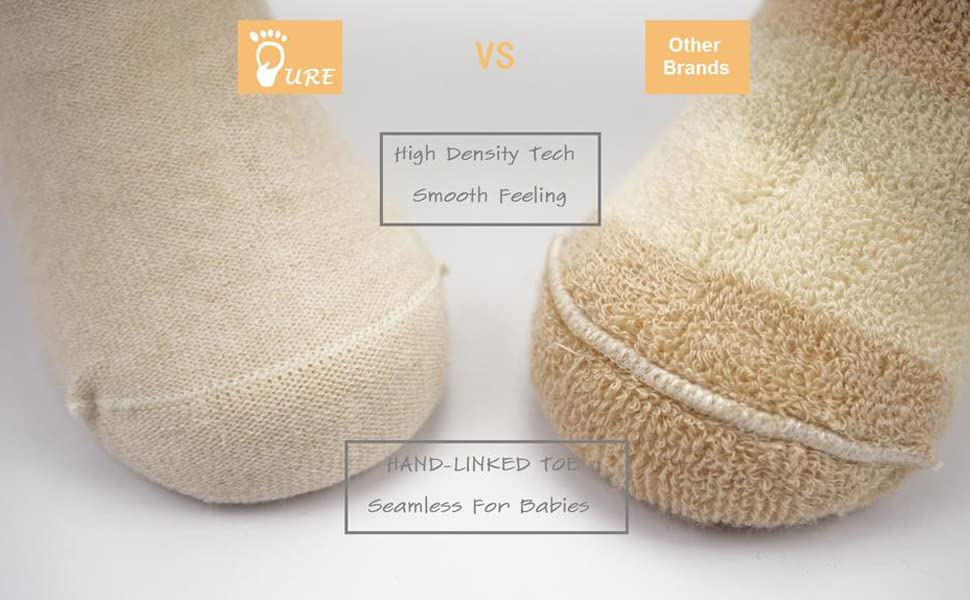 2 Chemical Free 4 or 6 Pairs of PURE Organic Cotton Baby Socks Child Socks Seamless Hand-Linked Toe