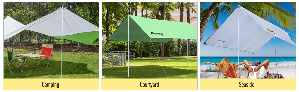 Homcom Outsunny 3 M Awning Sail Shade Canopy Pole Kit Adjustable Pole With Rope Metal White Amazon Co Uk Garden Outdoors