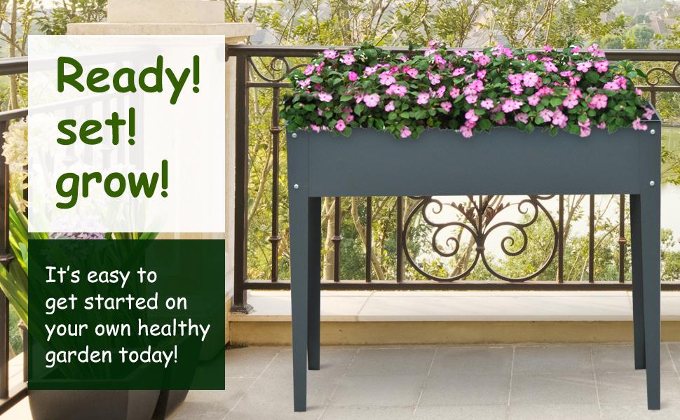 Outsunny Flower Raised Bed Garden Metal Vegetable Planter Freestanding Herb Growing Box Dark Grey