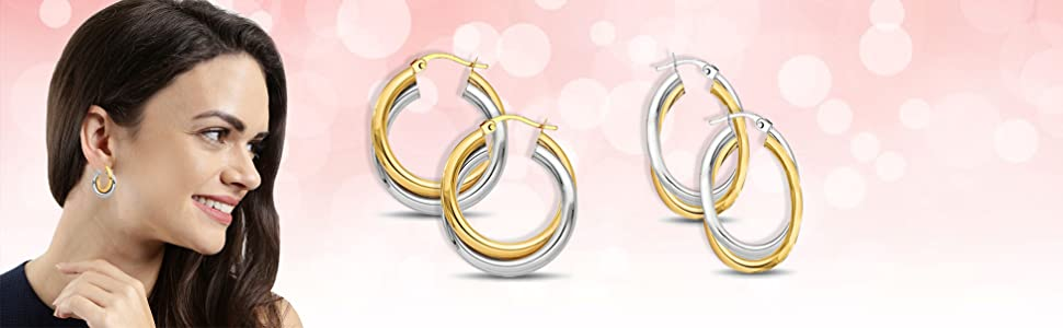 Sterling Two Tune Three Tone Hoop Earring