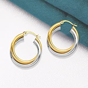 Sterling Hollow Hoop Earring