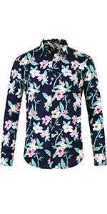 Floral Print, Point Collar, Button Down, Round Hem, Long Sleeves, Buttoned Cuffs