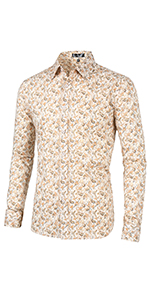 Paisleys Print, Point Collar, Button Down, Long Sleeves, Buttoned Cuffs