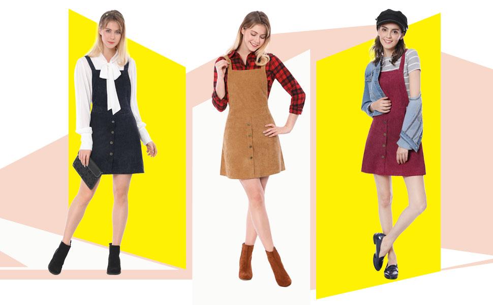 34bb62ac2db Allegra K Women s Corduroy Button Decor A Line Suspender Overall Skirt Dress