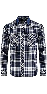 Yarn-dyed plaid flannel,Contrast Denim Point Collar,two pockets