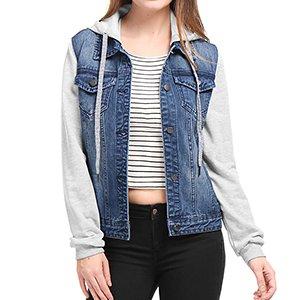 uusi luettelo mahtavat hinnat verkossa täällä Allegra K Women's Layered Drawstring Hood Denim Jacket with Pockets