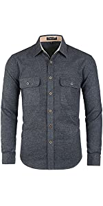 Brushed Cotton Fabric,Contrast Corduroy Inside Collar And Cuffs,Point Collar
