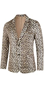 Leopard Print,Notched Lapel,Padded Shoulders,Full Lined, Double Vents