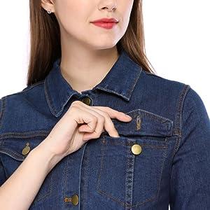 Allegra K Women's 3/4 Sleeve Button Down Denim Shirt Dress