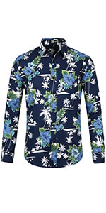 Palm Tree & Floral Print, Point Collar, Button Down,Long Sleeves