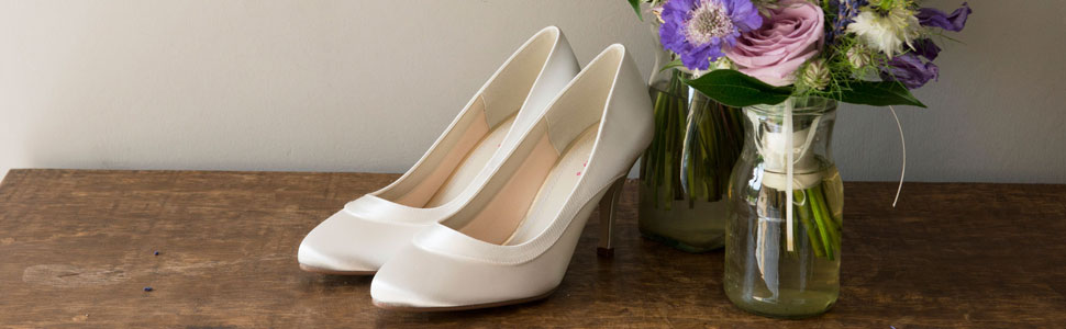 d65962f30e Nicole by Rainbow Club. A beautifully simple wide fitting court shoe with  satin ...