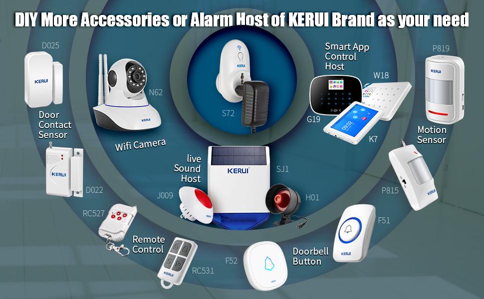KERUI Home Security System Indoor Outdoor Weather-Proof Siren Window ...