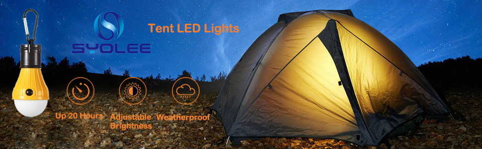Syolee 4 Pack Tent LED Light Waterproof Camping Lantern Lamp Emergency Light Battery Powered for Camping Hiking Fishing Hunting Mountaineering