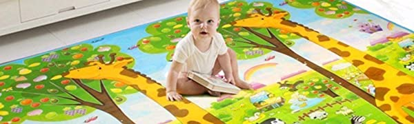 Soft baby play crawLing mat non-slip double-sided pattern- ideal gift for kids 200X180X0.6CM