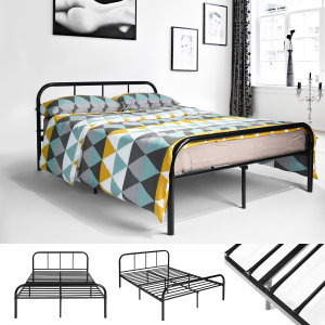 Double Bed Frame Coavas 4ft 6 Bed Frame with 2 headboard King Size