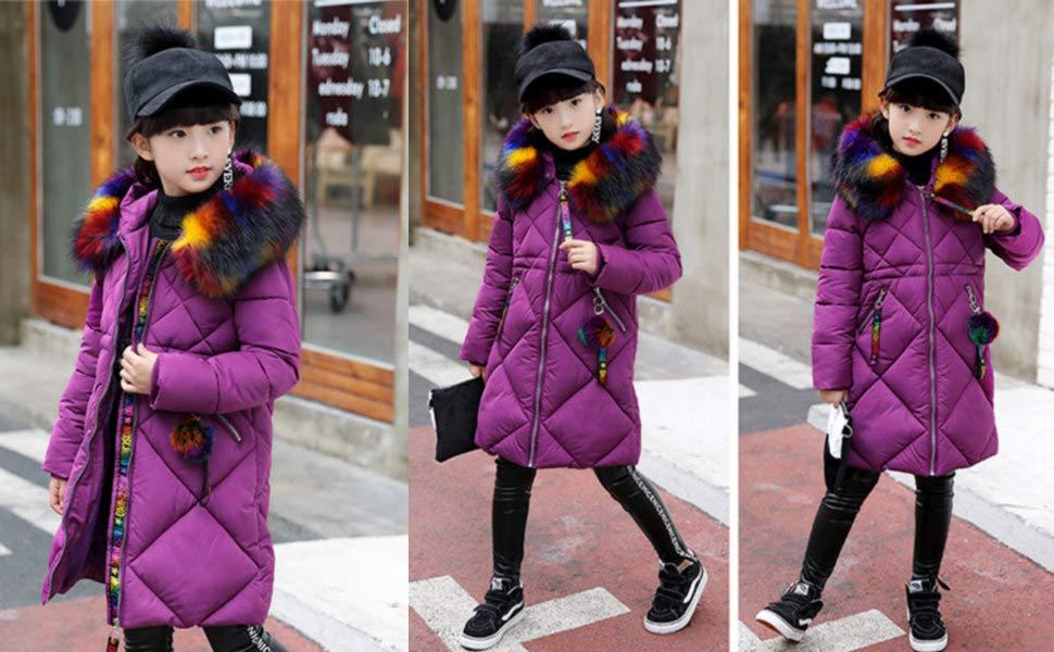 3cd5ff331 Phorecys Girl s Puffer Down Coat Winter Jacket with Faux Fur Trim ...