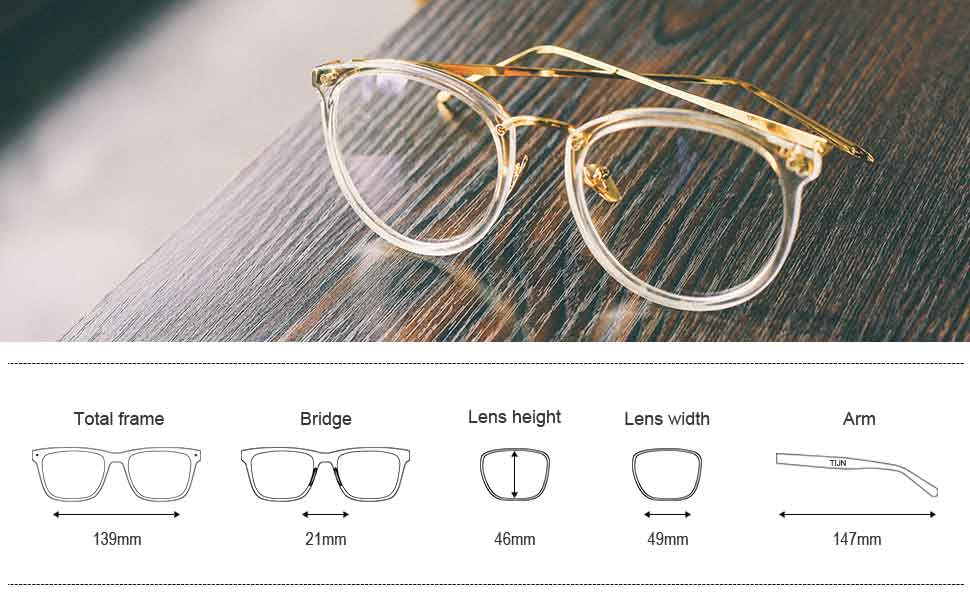 2c7efe5d86 TIJN Round Vintage Optical Eyewear Non-prescription Eyeglasses Frame with  Clear Lenses for Women 00021401