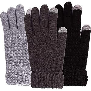 women mens winter knitted gloves