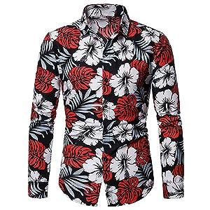 Camisas Hawaianas Aloha Camisa de Manga Larga Playeras Florales de Verano de Verano