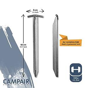CampAir T-Profile Tent Pegs T-Pegs Galvanised Steel Extra long 40 cm