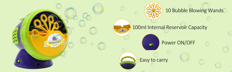 Kids Fun Battery Powered Bubble Blower for Indoor//Outdoor Use Termichy Automatic Bubble Machine with High Output