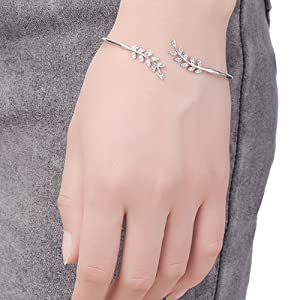 6230605a029a5 Philip Jones Silver Leaf Bangle Created with Swarovski® Crystals