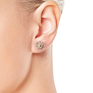 Silver and Gold Plated Daisy Crystal Stud Earrings with Crystals from Swarovski