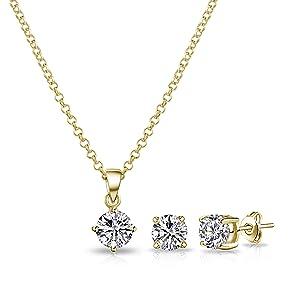 Philip Jones Gold Round Solitaire Set with Crystals from Swarovski