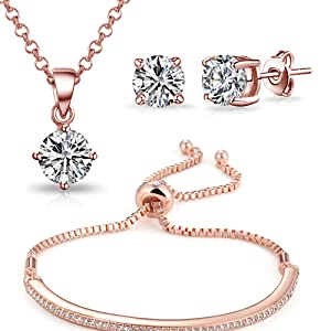 48d2dc38a Philip Jones Rose Gold Friendship Set Created with Austrian Crystals ...