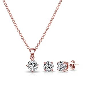 Rose Gold Round Solitaire Set with Crystals from Swarovski