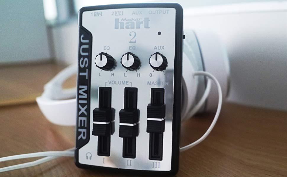 JUST MIXER 2 : USB Audio Mixer - Compact USB Powered Stereo Desktop Mixer