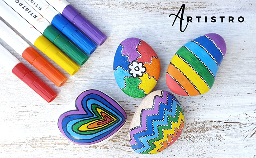 Paint Pens For Rock Painting Stone Pebbles Ceramic Glass Wood Set Of 12 Acrylic Paint Markers Extra Fine Tip 0 7mm Amazon Co Uk Kitchen Home