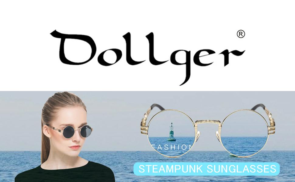 3b13b5e5d6e Dollger John Lennon Round Sunglasses Steampunk Style Sturdy Metal ...
