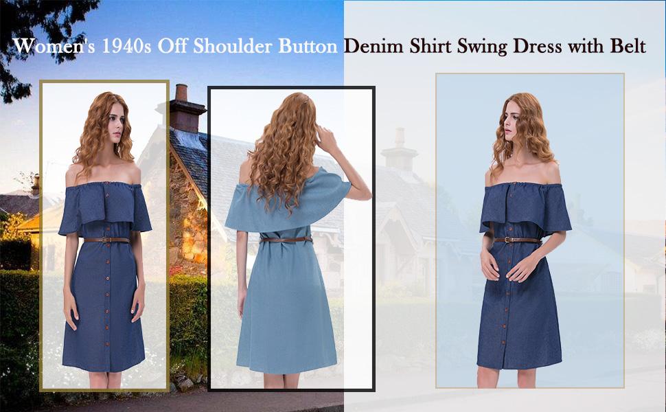 c19a565520c Kate Kasin Women s 1940s Style Off Shoulder Button Up Denim Shirt ...